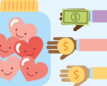 hands with money coin bill and hearts love charity vector illustration