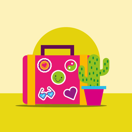 suitcase stickers and potted cactus hippie free spirit vector illustration