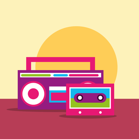 stereo sound radio and cassette hippie free spirit vector illustration