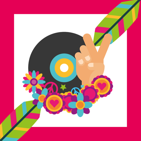 vinyl disc music feathers flowers hippie free spirit vector illustration