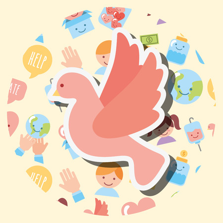 pink pigeon peace help charity vector illustration