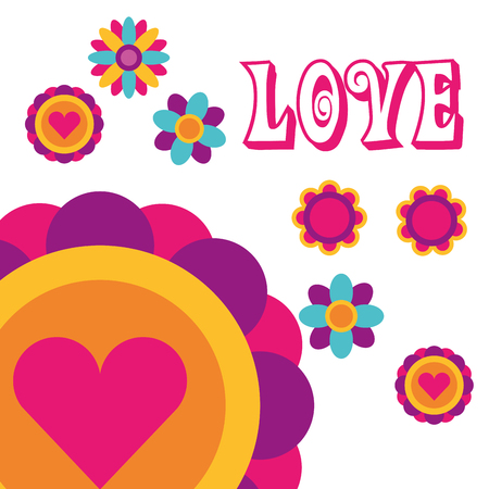 love flowers love heart bohemian hippie free spirit vector illustration