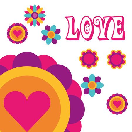 love flowers love heart bohemian hippie free spirit vector illustration