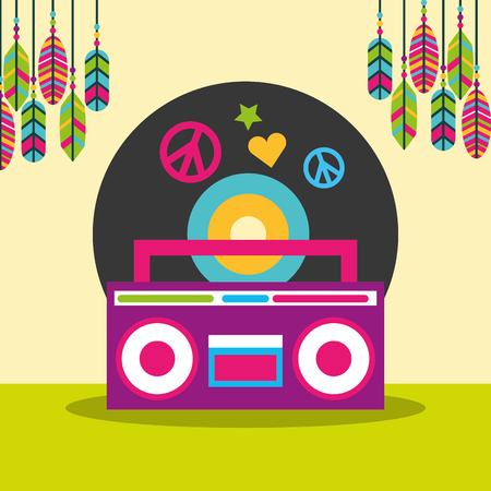 stereo radio vinyl disc peace and love feathers hippie free spirit vector illustration
