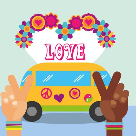 multiracial hands van flower love hippie free spirit vector illustration