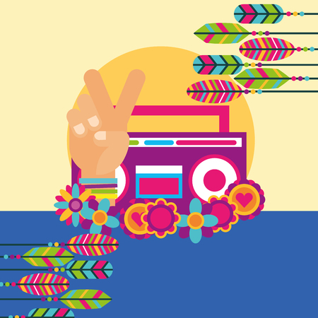 stereo radio hand peace and love flowers feather free spirit vector illustration