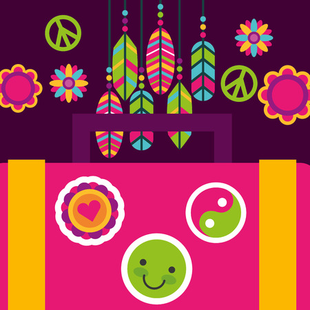suitcase sticker feather flower hippie free spirit vector illustration Illustration