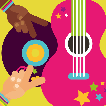 musical guitar vinyl disc hands peace love hippie free spirit vector illustration