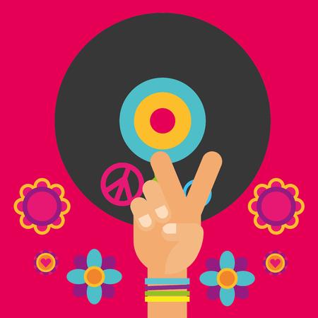 musical guitar vinyl disc hand flowers free spirit vector illustration