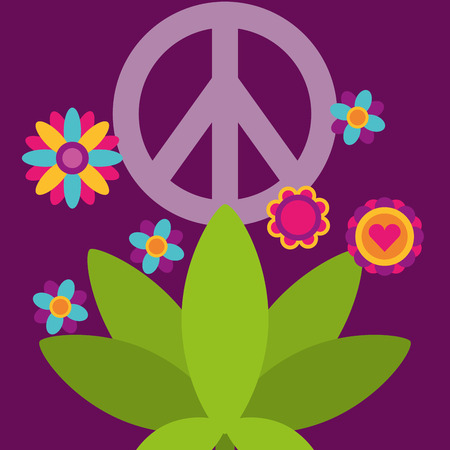 peace and love plant flowers free spirit vector illustration