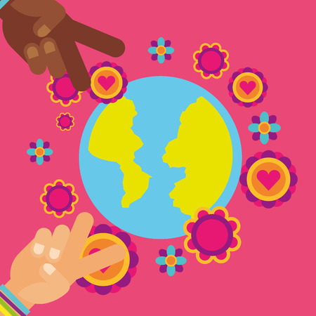 hippie world hands flowers vintage free spirit vector illustration  イラスト・ベクター素材