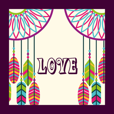 love dream catcher feathers ornament free spirit vector illustration