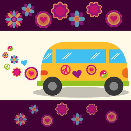 hippie free spirit van flowers festival peace sign vector illustration