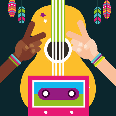 multiracial hands peace and love guitar feathers free spirit vector illustration