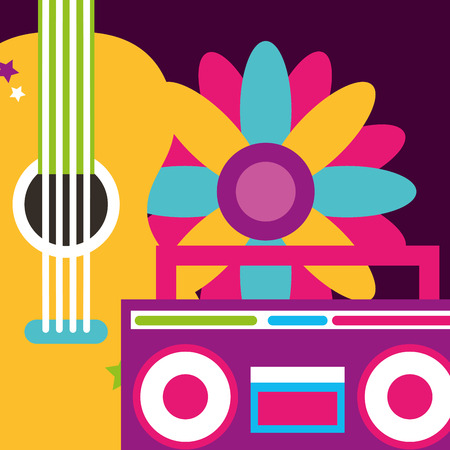 stereo radio guitar and flowers hippie free spirit vector illustration