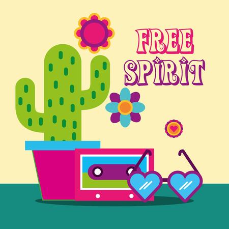 heart shaped glasses flowers cactus cassette free spirit vector illustration
