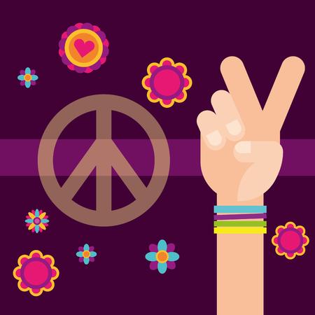 hippie hand peace and love flowers free spirit vector illustration  イラスト・ベクター素材