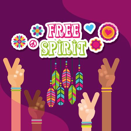 hippie multi ethnic hands peace love feathers flowers free spirit vector illustration Ilustração