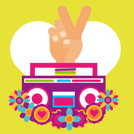 stereo radio hand pece and love flowers hippie free spirit vector illustration