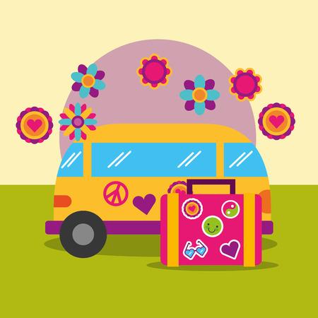 travel van and suitcase flowers retro hippie free spirit vector illustration