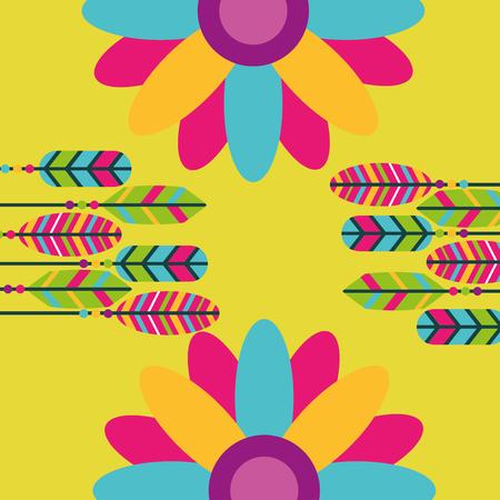 piume colorate fiori hippie retrò spirito libero illustrazione vettoriale