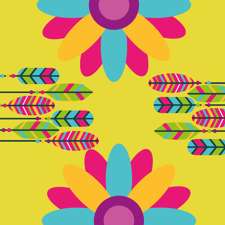 colored feathers flowers hippie retro free spirit vector illustration