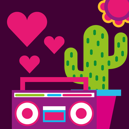stereo radio potted cactus hearts love flower free spirit vector illustration