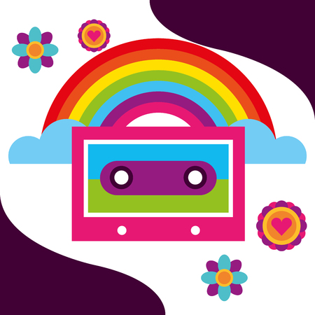 rainbow music cassette flowers retro free spirit vector illustration Illustration