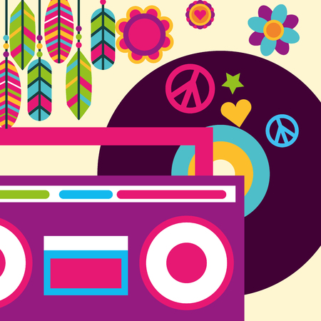 stereo radio vinyl music feather flowers hippie free spirit vector illustration Illustration