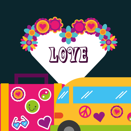 retro van suitcase stickers flowers love bohemian free spirit vector illustration Illusztráció
