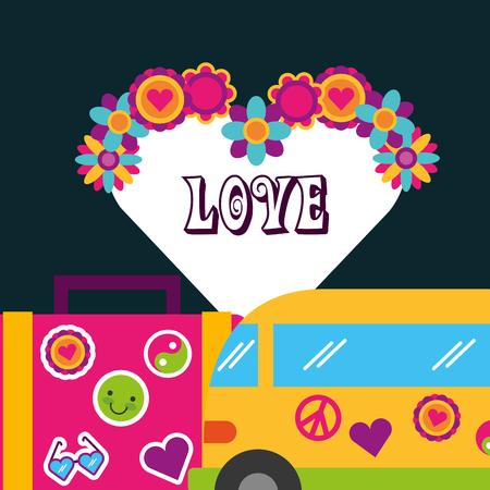 retro van suitcase stickers flowers love bohemian free spirit vector illustration Illustration