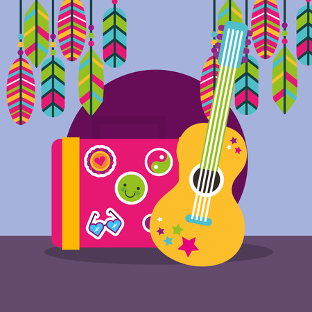 musical guitar suitcase feathers stickers boho free spirit vector illustration