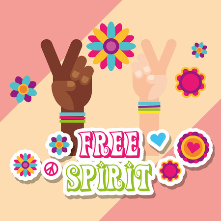 hippie multiracial hands flowers stickers free spirit vector illustration Illusztráció