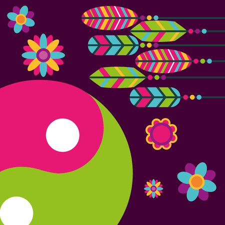 multicolored feathers flowers yin yang free spirit vector illustration Иллюстрация