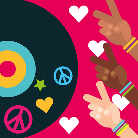 multiracial hands peace and love vinyl disc free spirit vector illustration