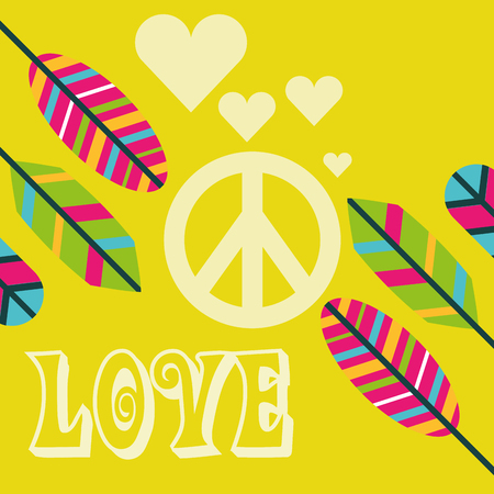 love peace sign feathers ornament free spirit vector illustration