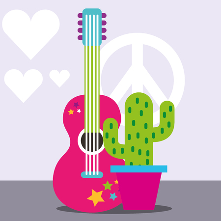 musical guitar potted cactus peace and love free spirit vector illustration Illusztráció