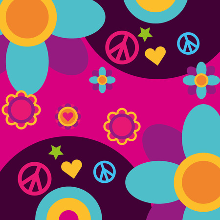 free spirit music vinyl disc flowers heart peace and love vector illustration Illustration