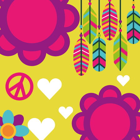 free spirit flowers feathers love hearts boho retro vector illustration