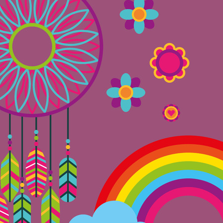 dream catcher feathers flowers rainbow free spirit vector illustration