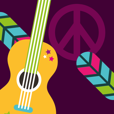 musical guitar feathers peace and love sign hippie free spirit vector illustration Illustration