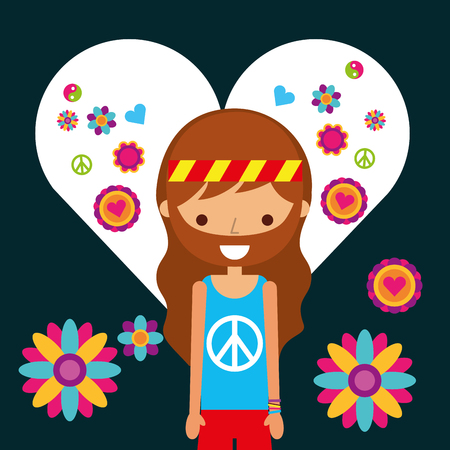 hippie man character in love heart flowers vector illustration 矢量图像