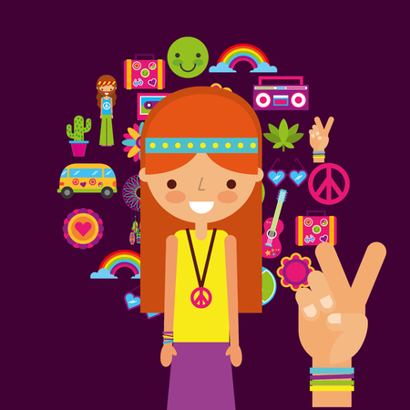 hippie woman character hand peace and love vector illustration Illustration