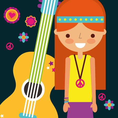 hippie woman with guitar musical instrument retro vector illustration Ilustração