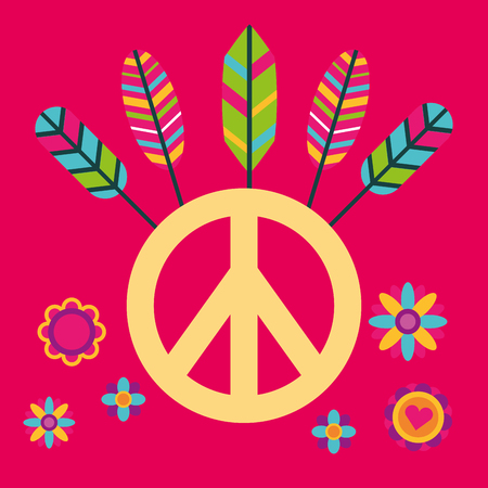 peace and love sign with colored feathers vector illustration