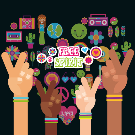 multiracial hands peace and love fre spirit vector illustration Imagens - 111906508