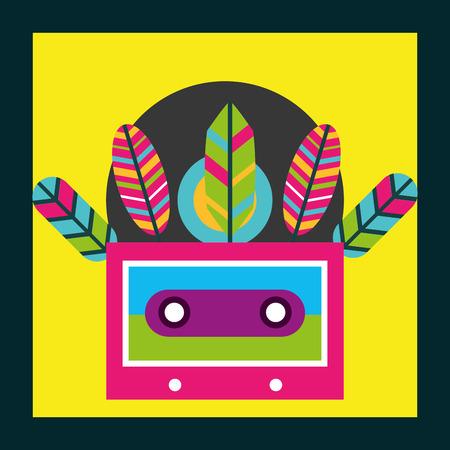 musical cassette feathers free spirit vector illustration