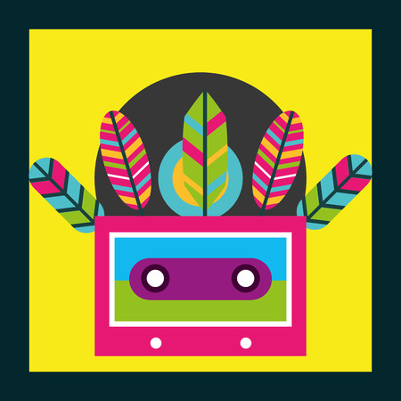 musical cassette feathers free spirit vector illustration