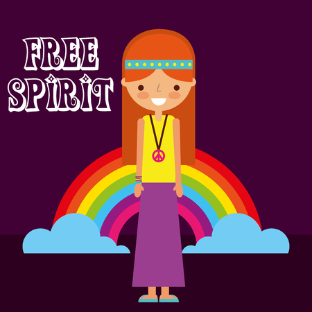hippie woman rainbow retro free spirit vector illustration