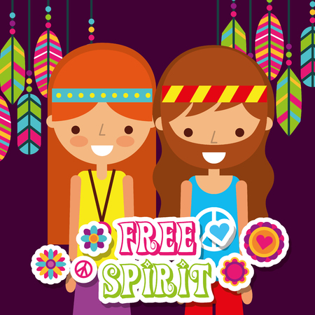 hippie woman and man with feathers vintage free spirit vector illustration